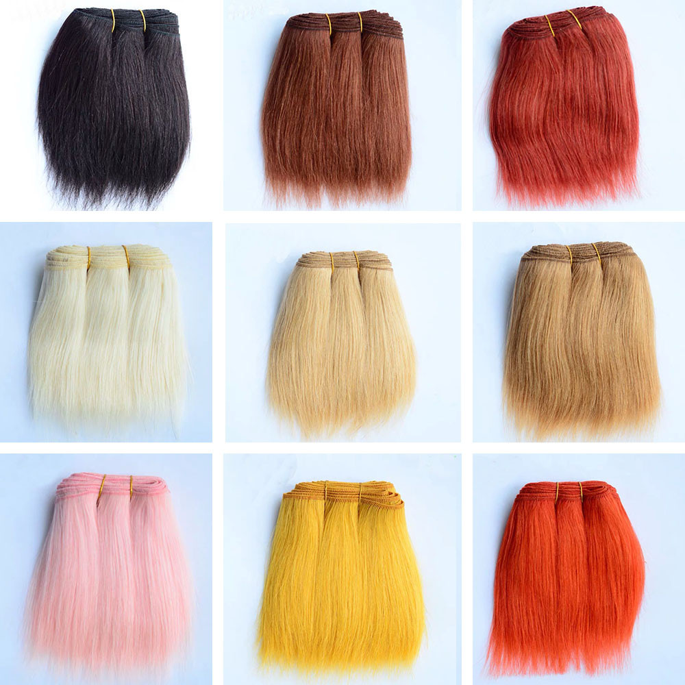 18cm Wool Hair Extensions for America Blyth SD <font><b>BJD</b></font> Puliip Kurhn All <font><b>Dolls</b></font> 1 Pieces Straight Wool Hair Wefts DIY <font><b>Doll</b></font> Hair <font><b>Wigs</b></font> image
