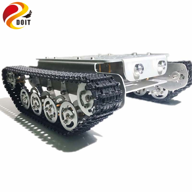 DOIT Caeser TS200 Suspension Shock Absorption Tank Robot Chassis Metal Tracked Robot Tank Chassis Platform for Arduino Control official doit caeser ts600 4wd damping tracked metal tank car chassis smart robot toy robotic competition