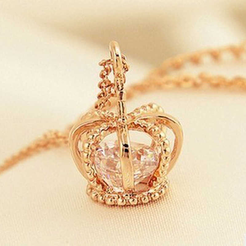 2018  Crown Pendant Necklace Rose Gold Color Fashion Women Crystal Wedding choker necklace Jewelry for Lady Gifts bijoux