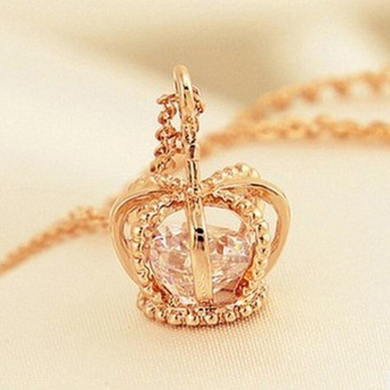 Crown Pendant Necklace Rose Gold Color