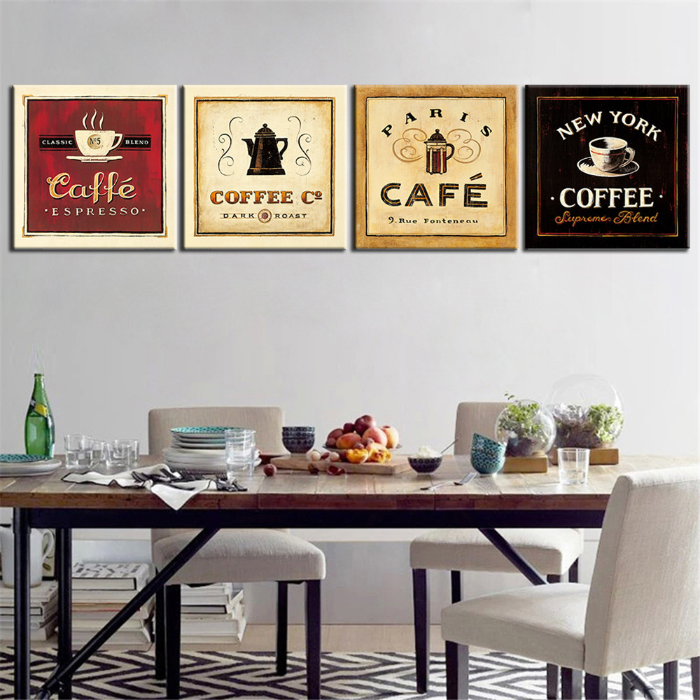 Aliexpress Com Buy 4 Panels Modern Printed Coffee Canvas: Online Buy Wholesale Coffee Wall Art From China Coffee