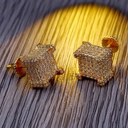 TOPGRILLZ New Style Fashion Gold/Silver Color All Iced Out Micro Pave CZ Stone Square Stud Earring Hip Hop Rock Jewelry Earrings