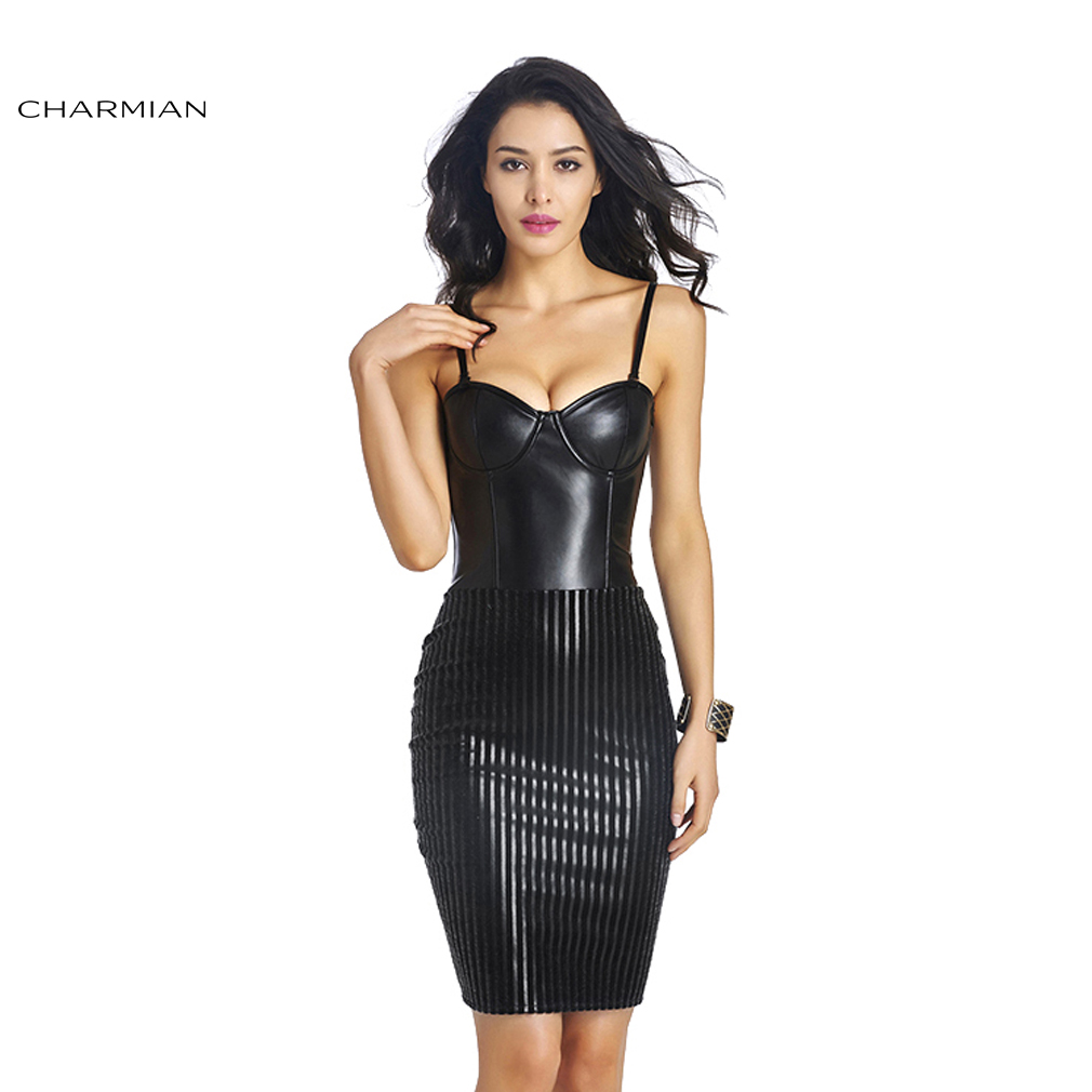 Black dress for wedding party - Charmian Women S Sleeveless Faux Leather Dress Cocktail Party Club Midi Bodycon Black Dress Wedding Party Dress