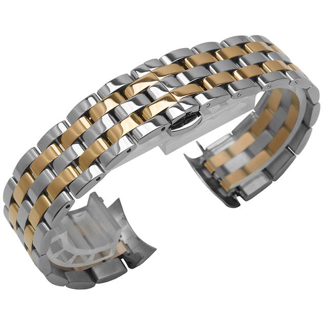 Pulseira De Relógio de Aço Inoxidável de alta qualidade 15 16 17 18 19 20 21 22 23 24mm Sólido Links Watch Band Frete Grátis