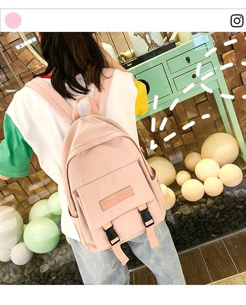 HTB1g2WUXEY1gK0jSZFMq6yWcVXaM 2019 Backpack Women Backpack Fashion Women Shoulder Bag solid color School Bag For Teenage Girl Children Backpacks Travel Bag