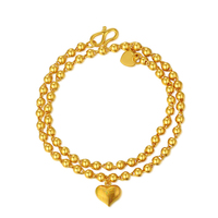 Pure 999 24K Yellow Gold Heavy gold Smooth Beads Bracelet in Heart Pendant