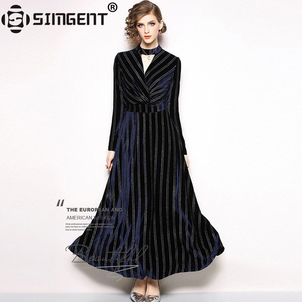 Simgent velours robe femmes hiver à manches longues col en v élégant drapé Maxi longue robe rayée bleu foncé Vestidos Jurken SG810172