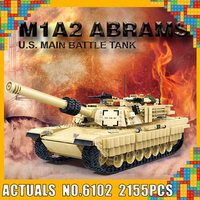 GUDI 6102 2155pcs Military M1A2 Battle Tank WW2 Soldiers ABRAMS Army War Building Blocks Compatible With Legoings Kids Toys