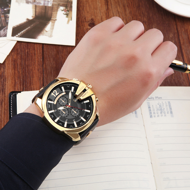 CURREN Men's Top Brand Luxury Leather Chronograph Calendar Date Display Quartz Watches 2