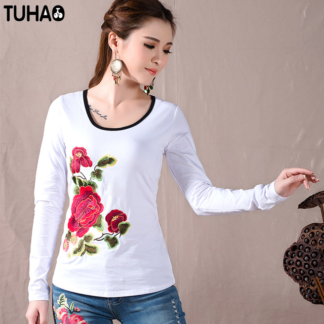 TUHAO 2018 Women blouses female Spring winter Mexican style long sleeve  black white red embroidery top