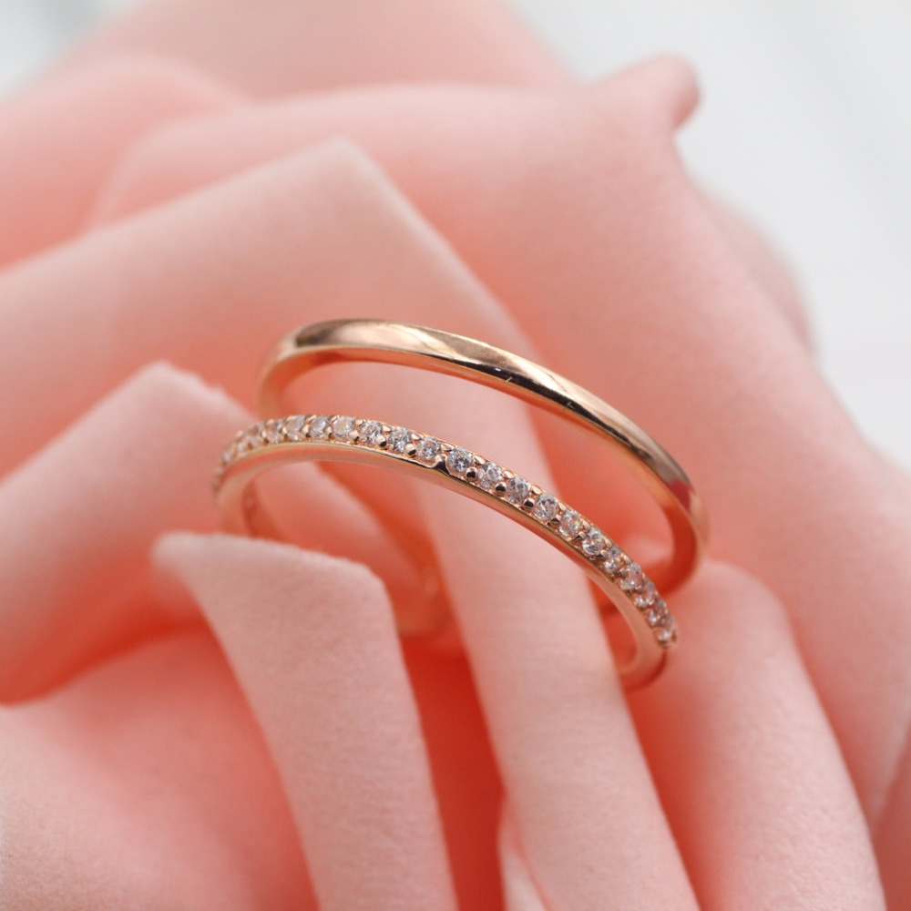 Womens Fashion ring 925 sterling silver ring rose gold color white crystal open ring womens