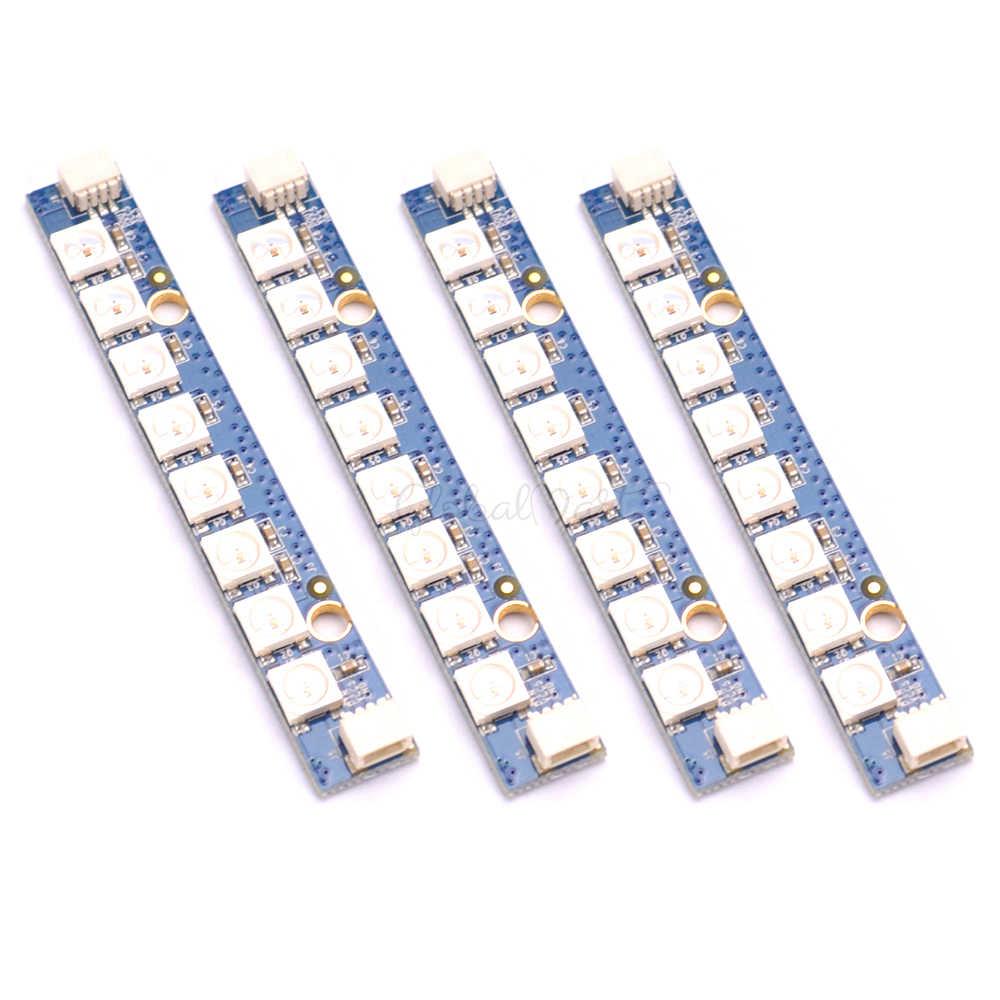 4 Pcs/8 Pcs 8X RGB 5050 LED Programmable LED Bar WS2812 Lampu Papan Strip LED untuk RC FPV racing Drone Quadcopter Multi Rotor
