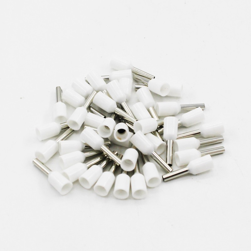 100 шт./упак. E0508 E7508 E1008 E1508 E2508 изолированных кабельных наконечников клеммной колодки конец шнура Разъем провода электрические обжимной Терминатор - Цвет: Белый