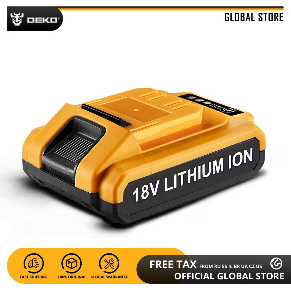 DEKO Battery18V-Y 18V 1500mAh Lithium Ion Battery For GCD18DU2 Cordless Drill Replaceable Battery Pack