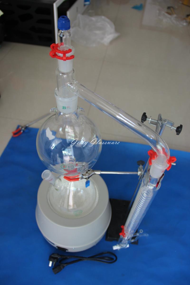Aparato de destilación de vapor de aceite esencial, kit de destilación de vapor de aceite esencial con manto de calentamiento de 2000 ml