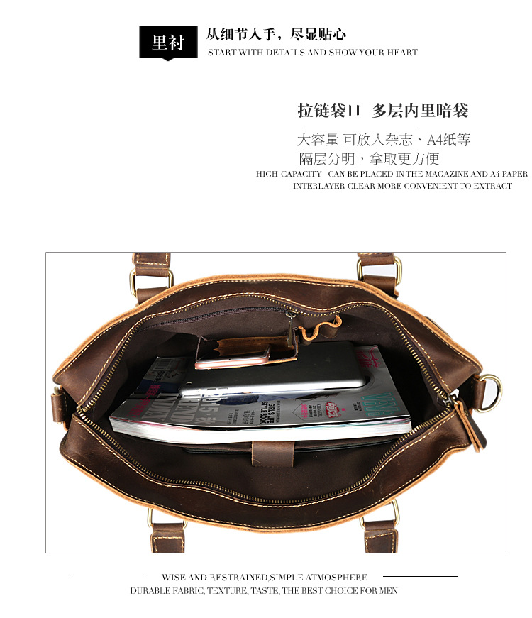 New Fashion Cowhide Male Commercial Briefcase Real Leather Vintage Men 39 S Messenger Bag Casual Natural Cowskin Business Bag SF in Briefcases from Luggage amp Bags