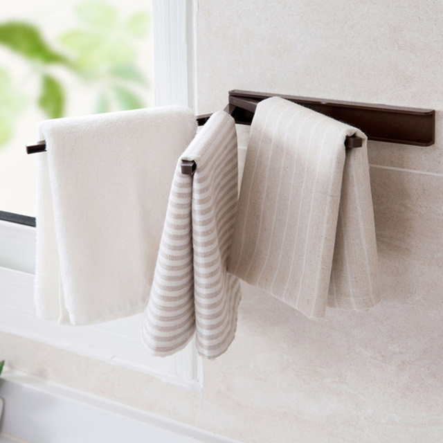 Self Adhesive Towel Bar Rotating Bathroom Shelf Towel Rack For Kitchen Towel  Holder Storage Rack Coat