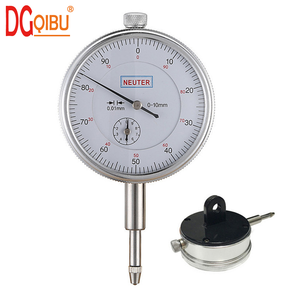 Dial Indicator 0-10mm/0.01mm Resolution Gauge mesure instrument Tool dial  Mechanical Indication Strap Ear Aluminum Alloy Case