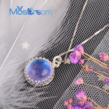 лучшая цена MosDream Holy Ghost Gemstone Pendant Necklace Magic Elegant blue-violet gradient s925 silver Necklace for women Romantic Lucky G