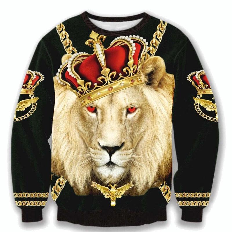 Raisevern harajuku new 3D hoodies fashion crewneck sweatshirts Lion King  wear the Crown gold chain printed sweatshirt sudaderas-in Hoodies &