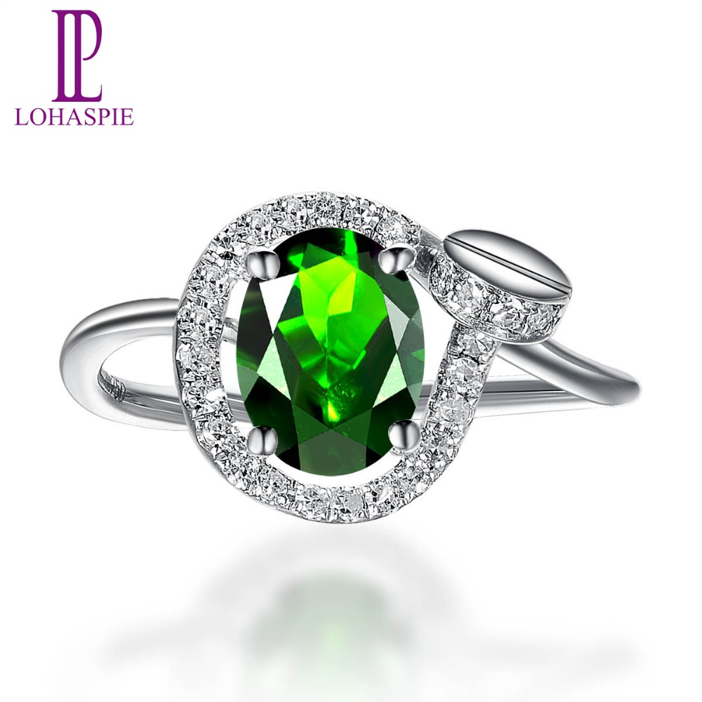 Lohaspie Natural Chrome Diopside & Diamond Solid 18k White Gold Trendy Clou Engagement Ring Diamond-Jewelry For Women