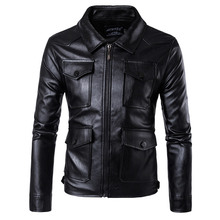 MarKyi fashion slim fit leather jacket for men plus size 5xl long sleeve pu leather jacket motorcycle цена