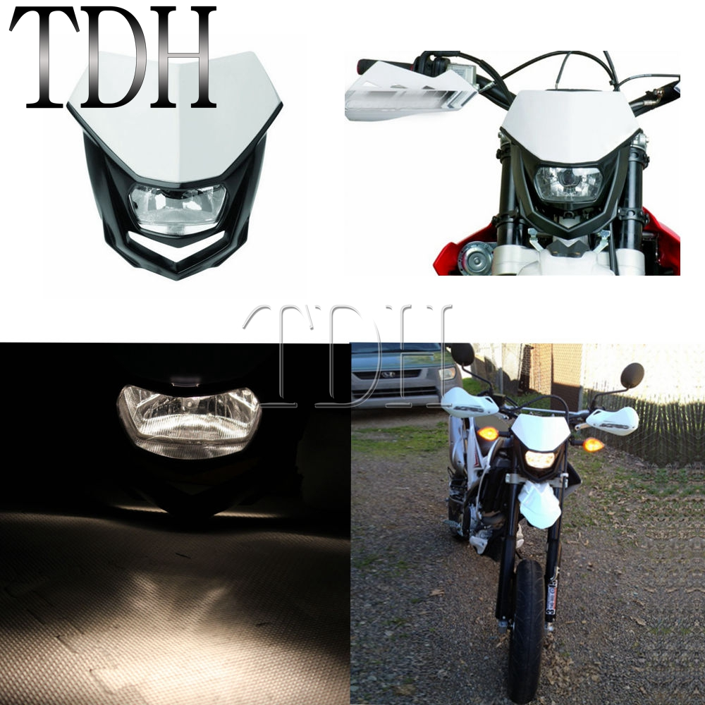 White 12V 35W <font><b>Universal</b></font> Head Lamp Streetfighter Motorcycle <font><b>Dirt</b></font> <font><b>Bike</b></font> Motocross <font><b>Headlight</b></font> For KTM EXC EXCF SX SXF XC NXC MX SMR image