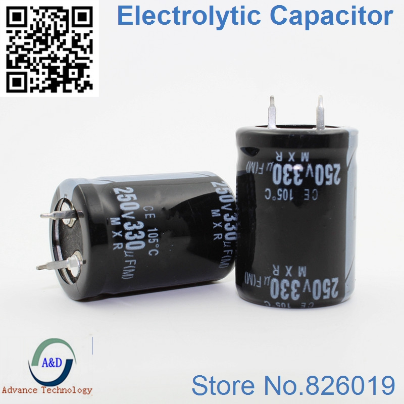 15pcs/lot 250V 330UF Radial DIP Aluminum Electrolytic Capacitors Size 22*30 330UF 250V Tolerance 20%