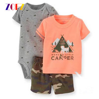 ZOFZ 3pcs Set Baby Boy Clothes Print Cotton Baby Clothing Fashion Baby Rompers With Short Pants