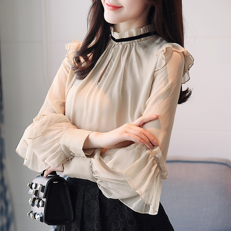 2018 New Spring Women Chiffon Shirt Blouse Butterfly Long Sleeve Stand Neck Hollow Out Flare Office Lady Work Blouse And Tops