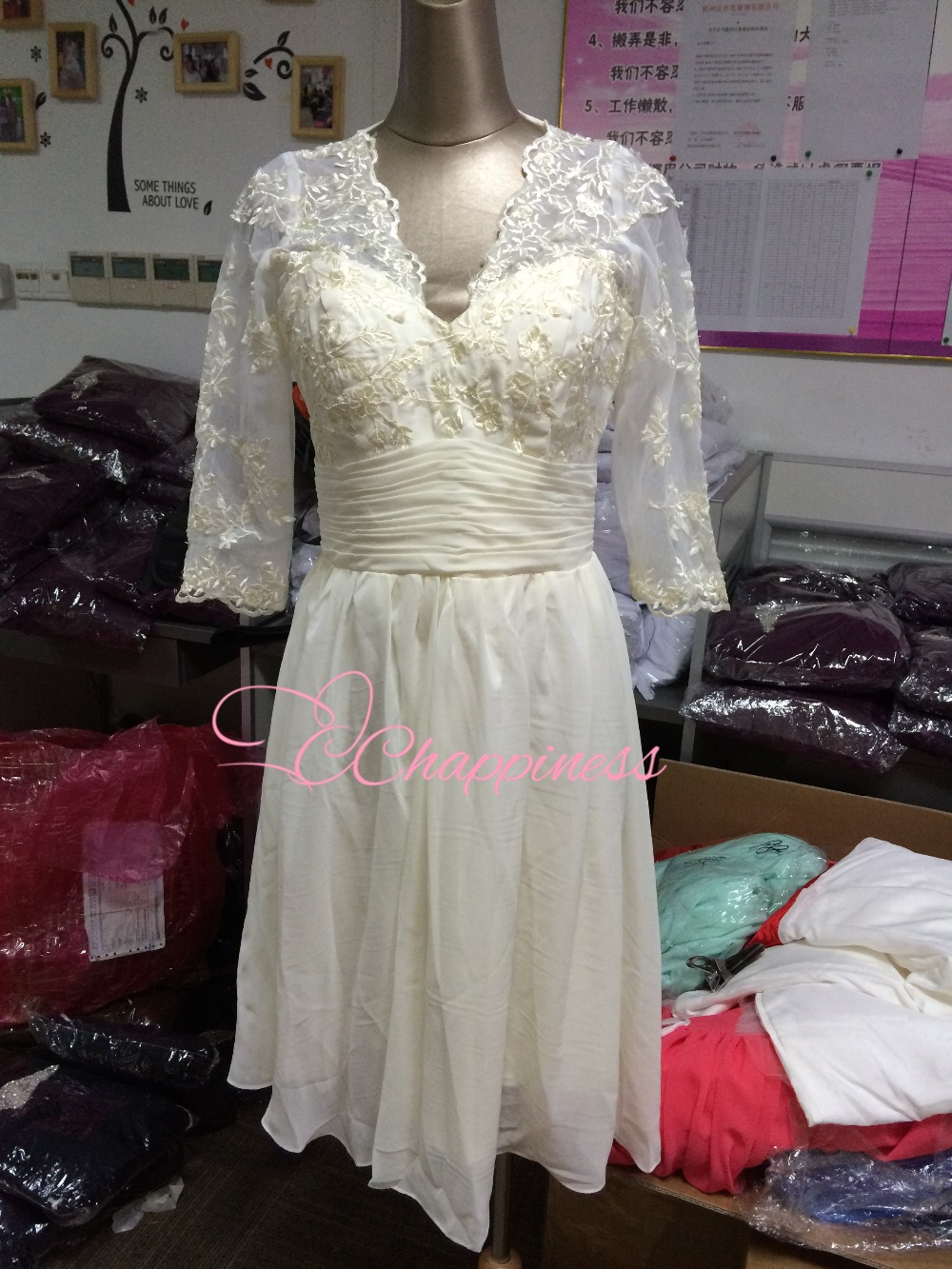 Cheap Special Discount Ivory Wedding Party Dress V Neck Knee Length Cocktail Dresses Short Gown