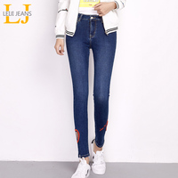 2018 LEIJIJEANS New Arrival Spring Fashion Red Heart Hollow Embroidery Mid Waist Full Length Women Skinny