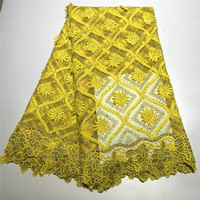 2019 High Quality African Lace Fabric Yellow Milk Silk Applique Lace French Tulle Lace Fabric For Nigerian Wedding Dress