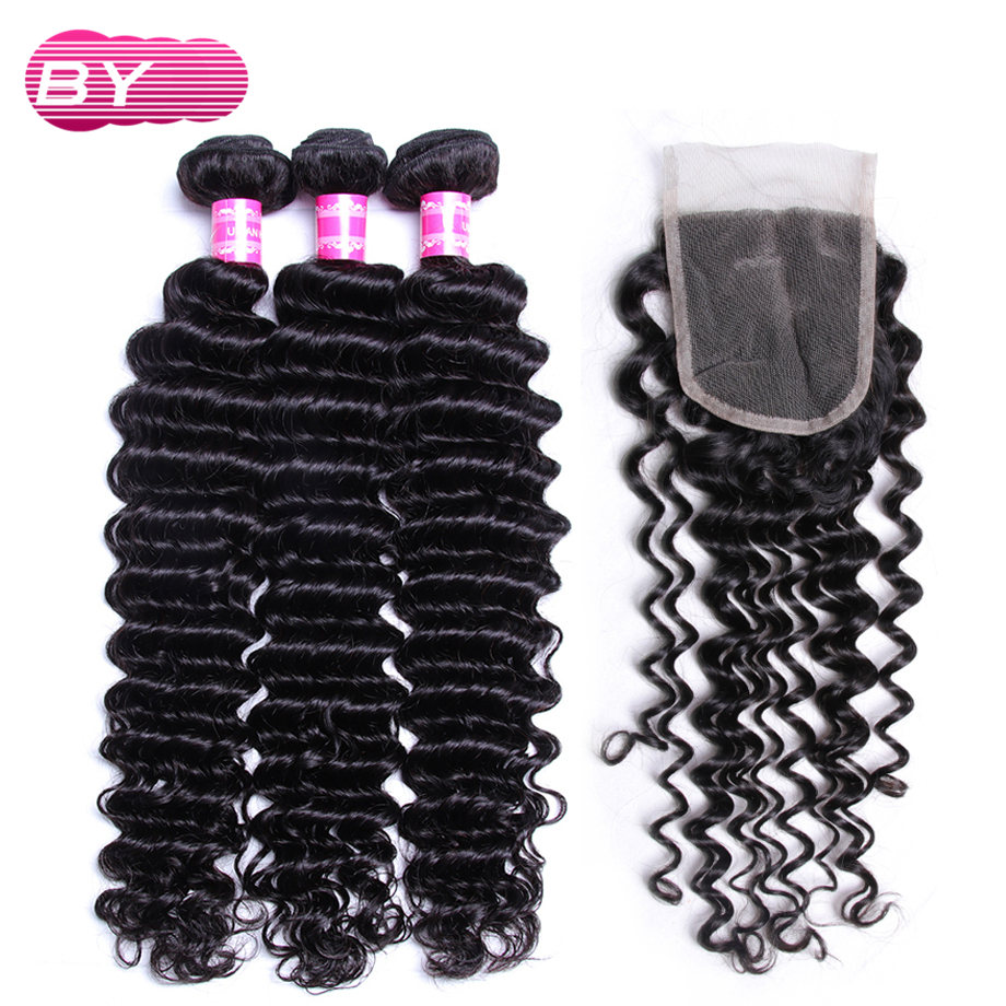 BY Malaysian Human Hair Deep Wave 3 Bundles With 4x4 Lace Closure Non Remy Hair For