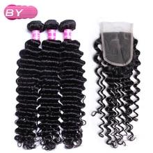 По Малайзии Человеческие волосы глубокая волна 3 Связки с 4×4 Синтетические волосы на кружеве-Волосы Remy для салона Наращивание волос