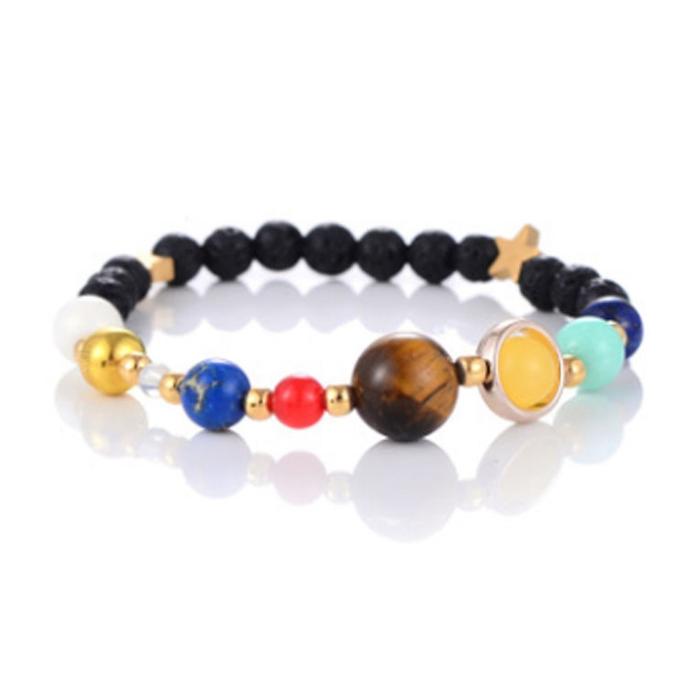Weave Universe Galaxy the Eight Planets in the Solar System Guardian Star Natural Stone Beads Bracelet Bangle for Women & Men