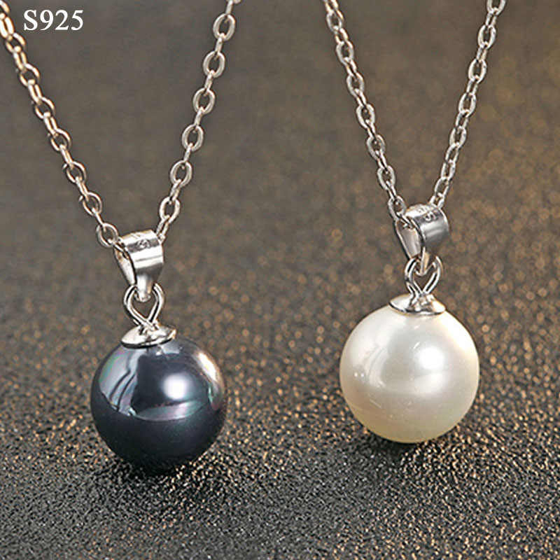 Black Pink Shell Pearl Genuine Real Pure Solid 925 Sterling Silver Pendant Women Jewelry Female Suspension Pendant No Necklace