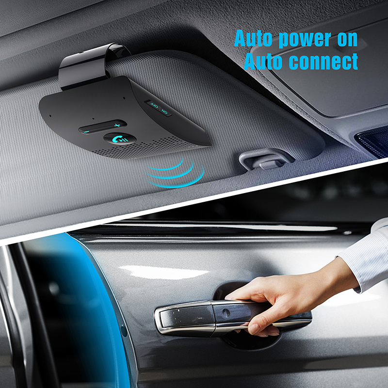 Handsfree Car Kit Sun Visor Clip Bluetooth   W Hifi Speakers Dual Mic