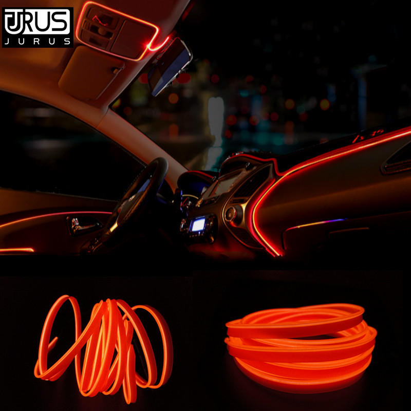 JURUS 3Meters Foot Lighting Neon Wire Light Led Car Interior Lights Strip 12V Car Cigarette Lighter Automotive Decoration Lamp