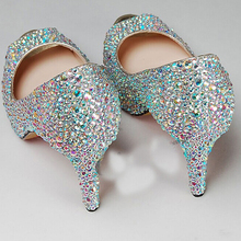 2016 Luxury 4 inch heels wedding shoes crystal Strass Crystal High Platform Shoes diamond Rhinestone Party Prom High Heels shoes