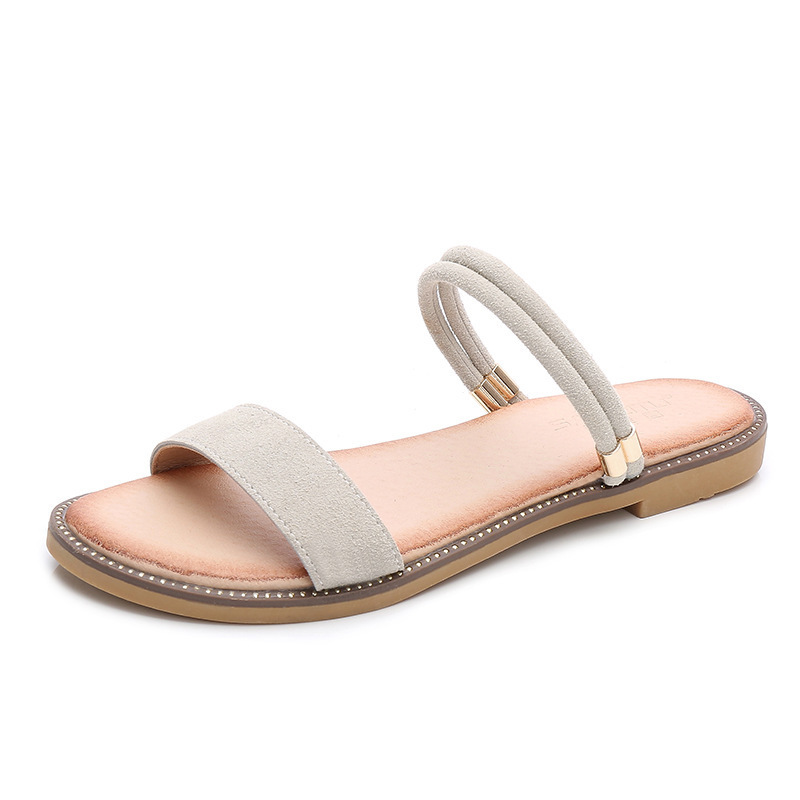 2018 new summer word with two wear sandal female simple fashion flat Roman shoes.