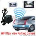 Wifi wireless cámara de visión trasera pantalla por teléfono en coche cámara wifi transmisor uso del coche retrovisor cámara de aparcamiento inalámbrico cámara demasiado