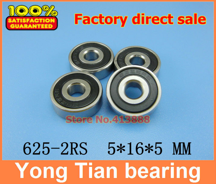50pcs free shipping double Rubber sealing cover deep groove ball bearing 625-2RS 5*16*5 mm 625 RS / 625RS