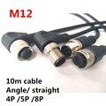 Кабель M12 10 м  кабель для подключения датчика  водонепроницаемая штепсельная вилка типа A  4  5  8 контактов + 10 м  ПВХ