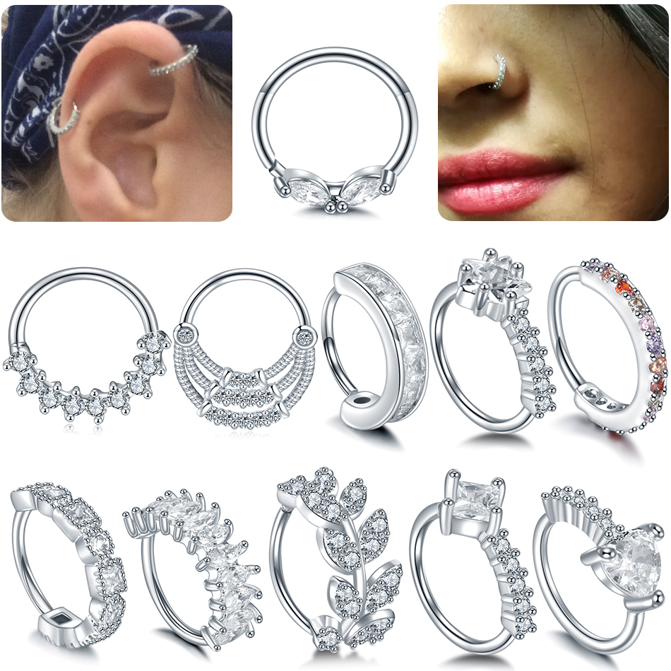 Jewelry Piercings Tragus-Earrings Hoop-Ear Helix Clicker Nose Copper Cartilage 20G Gem