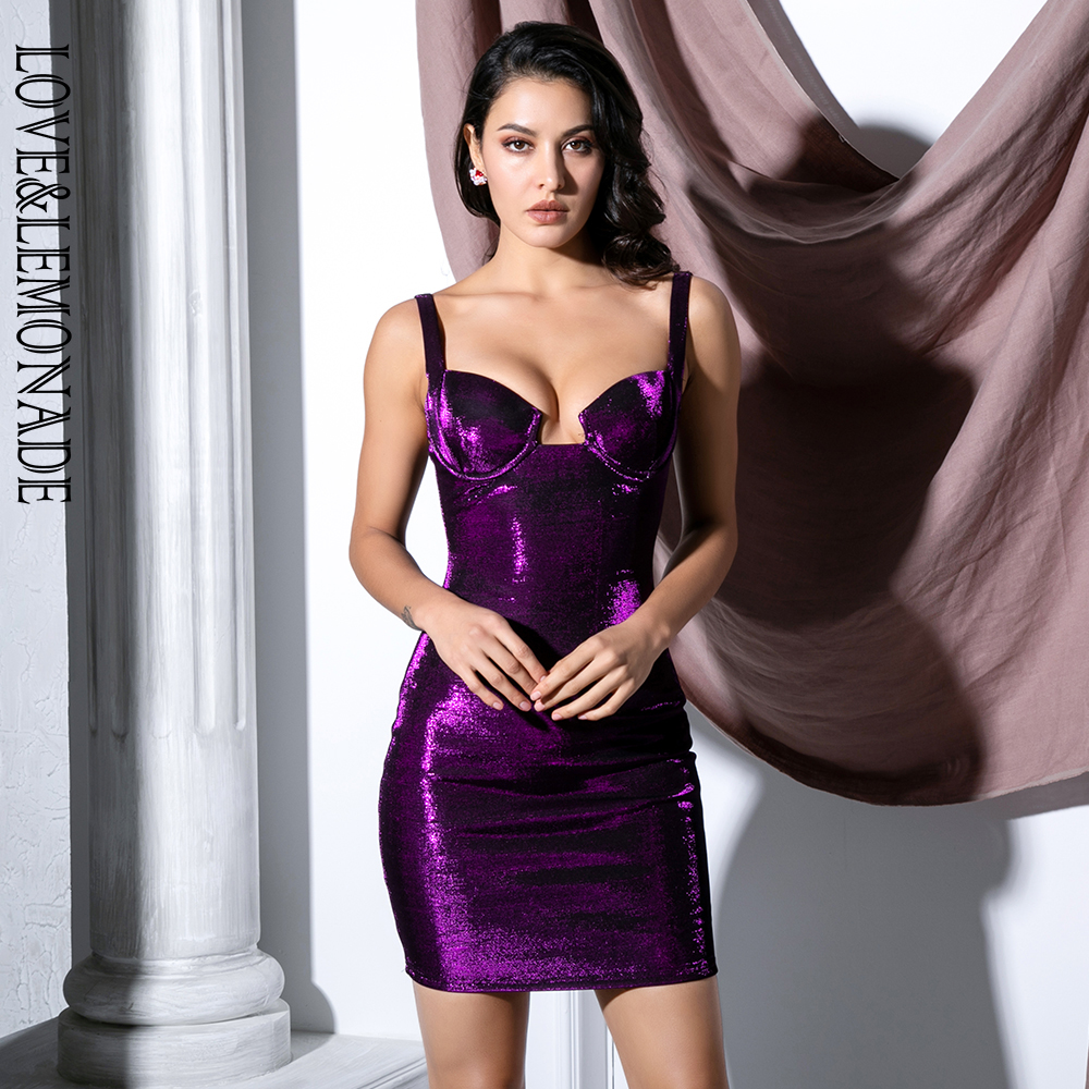 Love Lemonade Sexy Purple Strapless Bodycon Reflective Fabric Party Dress LM81729 1