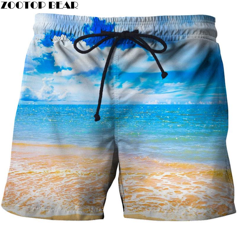 Aggressive Blue Sky Men 3d Ston Printed Beach Short Men Short 3d Fashion Quick Dry Pant Board Printed Men Short Plage Dropship Zootop Bear Various Styles Board Shorts