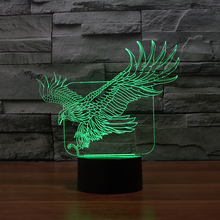 3D Illusion Animal Eagle LED Desk Table Night Light Lamp 7 Color Touch Lamp Kiddie Kids Children Family Holiday