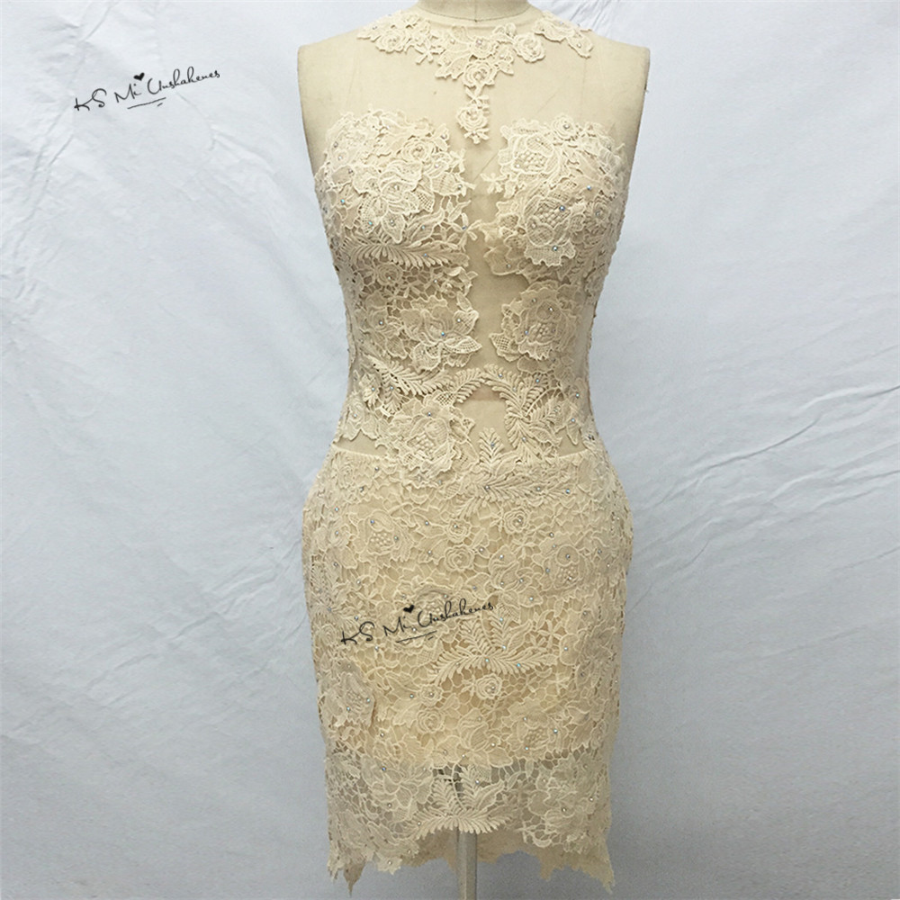 Robe de Cocktail Champagne Short Cocktail Dress Lace Beaded Backless Sheath High Low Prom Party Dresses 2018 Vestidos Curtos
