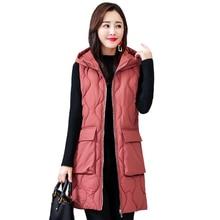 2019 Autumn Winter Vest Women Long Vest Plus Size 6XL Casual Thicken Warm Cotton Hooded Sleeveless Waistcoat Winter Vest Female цена
